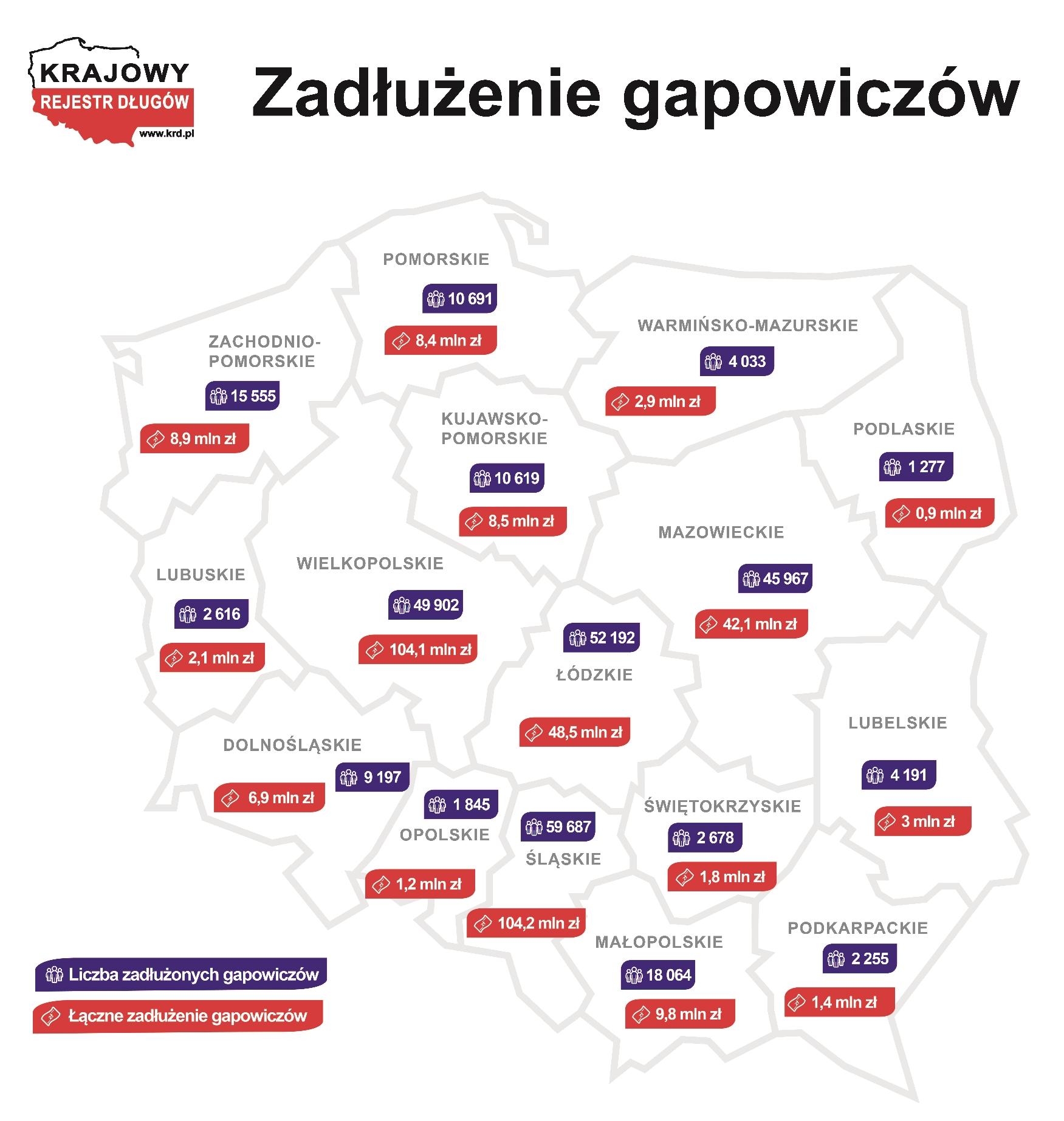 Zadłużenie gapowiczów - mapa