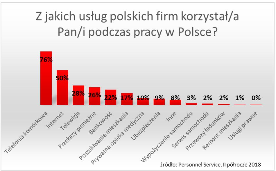 Z jakich usług korzystają Ukraińcy w Polsce
